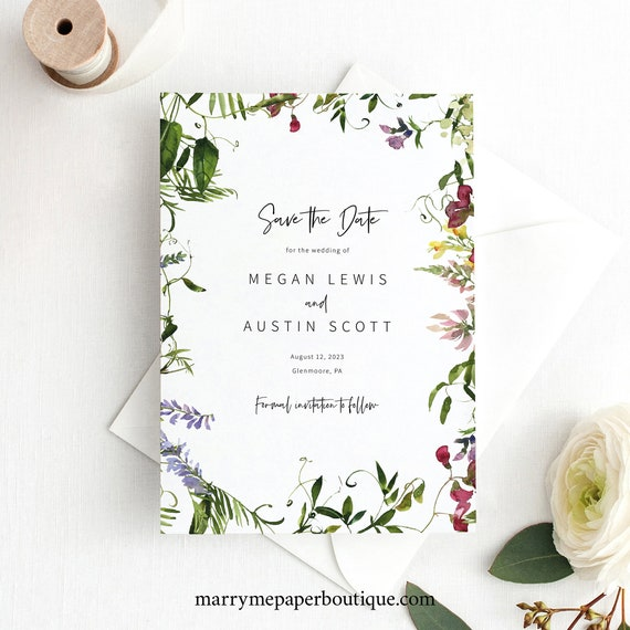 Save the Date Card Template, Summer Garden Greenery, Save Our Date, Printable, Templett INSTANT Download, Editable