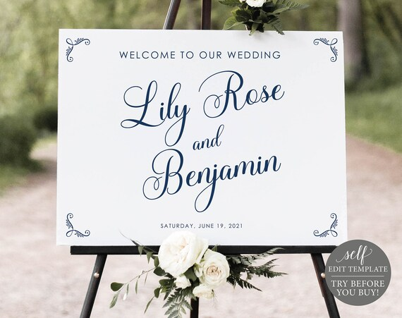 Wedding Welcome Sign Template, TRY BEFORE You BUY, Editable Instant Download, Rustic Navy