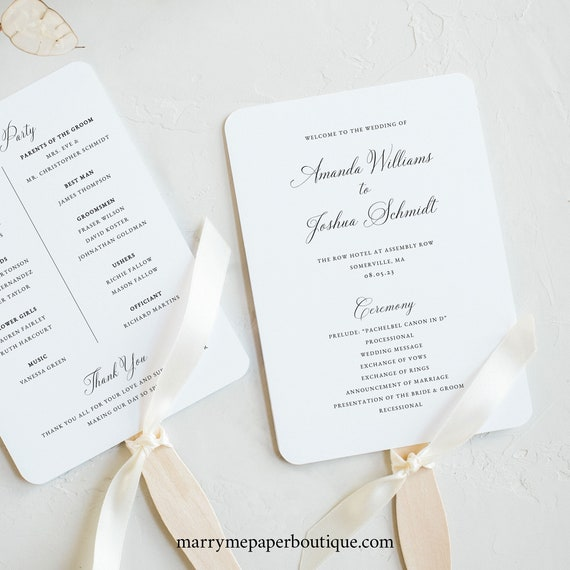 Elegant Wedding Program Fan Template, Traditional, Wedding Fan Program, Printable, Calligraphy, Templett INSTANT Download, Fully Editable