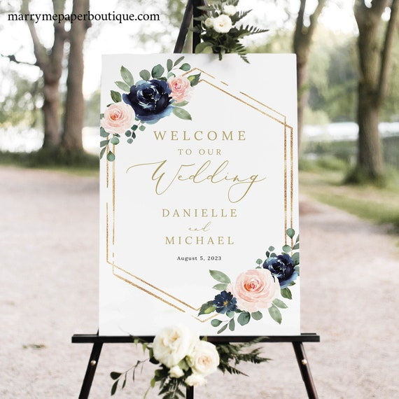 Wedding Welcome Sign Template, Navy & Blush Floral, Welcome To Our Wedding Sign, Printable, Templett INSTANT Download, Portrait