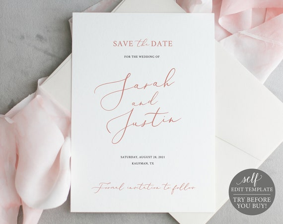 Save the Date Template, 100% Editable Instant Download, TRY BEFORE You BUY, Elegant Rose Gold