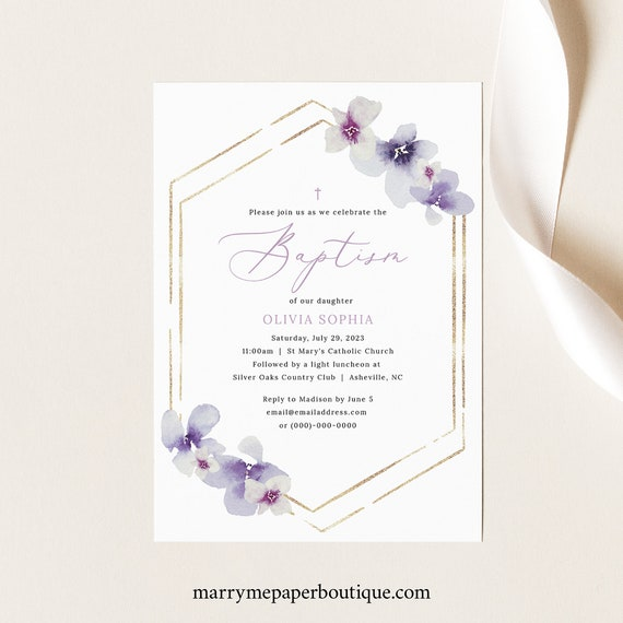 Baptism Invitation Template, Delicate Lilac Flowers, Purple Hydrangea Baptism Invite, Printable, Editable, Templett INSTANT Download