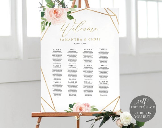 Seating Plan Template, Blush Floral, Instant Download, Wedding Chart Printable, TRY BEFORE You BUY