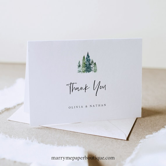 Pine Forest Thank You Card Template, Folded, Printable Thank You Card, Rustic Pine Trees, Templett, Editable, INSTANT Download