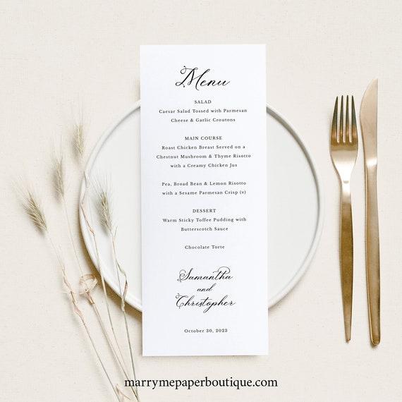 Wedding Menu Card Template, Elegant Romantic Script, Elegant Calligraphy Menu, Printable, Editable, Templett INSTANT Download