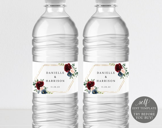 Water Bottle Label Template, Burgundy Navy, Printable Editable Instant Download, Demo Available