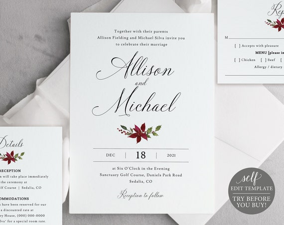 Wedding Invitation Template Set, Christmas Design, TRY BEFORE You BUY, Editable Instant Download