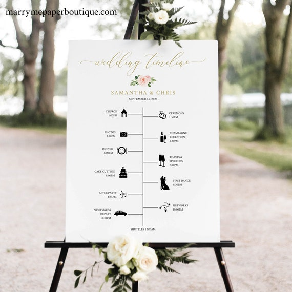 Wedding Timeline Sign, Blush Floral, Editable Order of Events Sign Printable, Templett Instant Download, Try Before You Buy