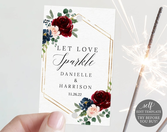 Sparkler Tag Template, Burgundy Navy, Editable & Printable Instant Download, Demo Available, Templett