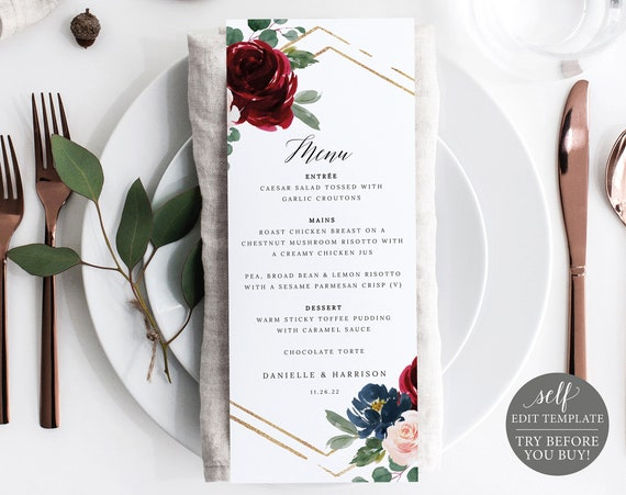 Menu Template, Burgundy Navy, Demo Available, Editable & Printable Instant Download