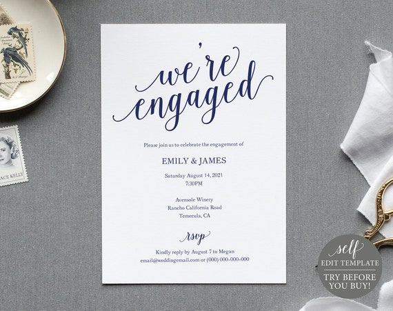 Navy Engagement Party Invite Template, TRY BEFORE You BUY, 100% Editable Instant Download