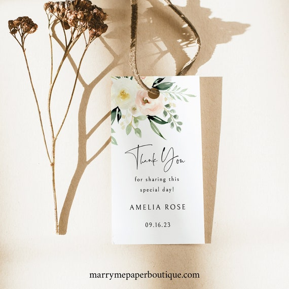 Favor Tag Template, Pink Floral Greenery, Wedding Gift Tag, Printable, Templett, Editable, INSTANT Download