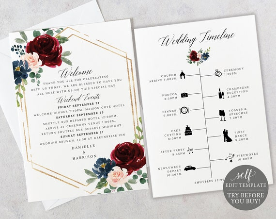 Wedding Itinerary Card Template, Burgundy Hexagonal, Demo Available, Printable Editable Instant Download