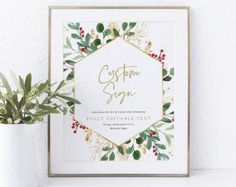 Winter Wedding Sign Bundle Template, Christmas Wedding Sign, Printable, INSTANT Download, Templett, Editable