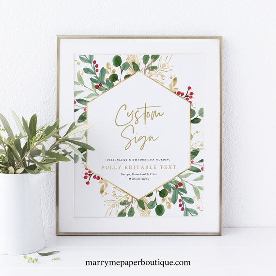 Winter Wedding Sign Bundle Template, Christmas Wedding Sign, Printable, INSTANT Download, Templett, Editable