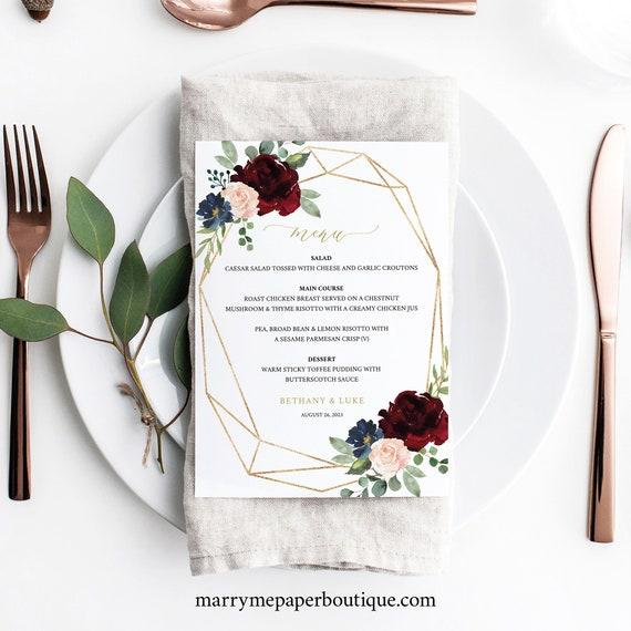 Wedding Menu Template, Burgundy Geometric 5x7, Printable Editable Instant Download, Demo Available