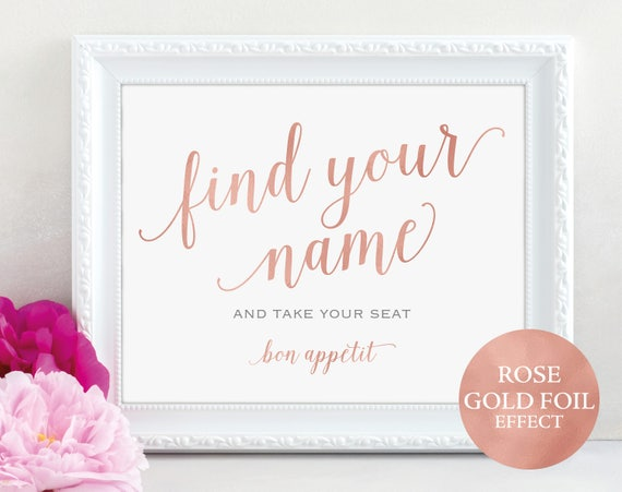 Rose Gold Find Your Name Sign, Take Your Seat Sign, Wedding Sign, Wedding Printable, Seating Sign, PDF Instant Download, MM01-7