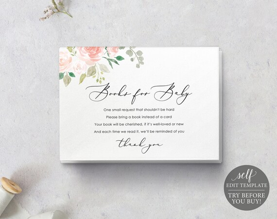 Books for Baby Card Template, TRY BEFORE You BUY, 100% Editable Instant Download, Pink Floral