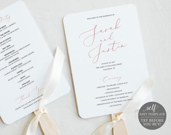 Wedding Program Fan Template, TRY BEFORE You BUY, Editable Instant Download, Elegant Rose Gold