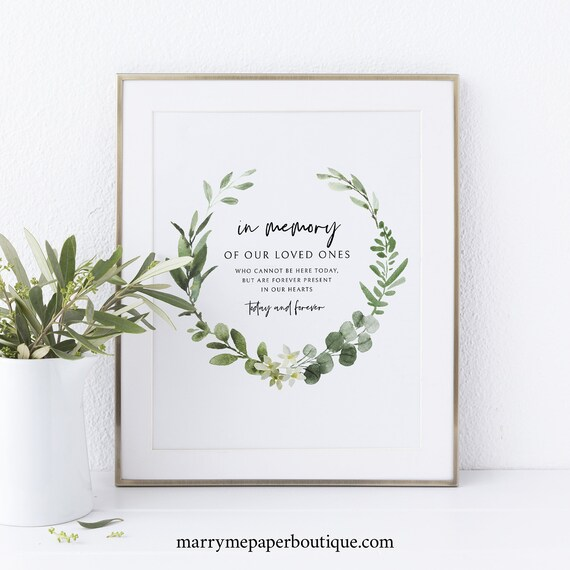 In Memory Sign Template, Printable Sign, Instant Download, Non-Editable, Elegant Greenery