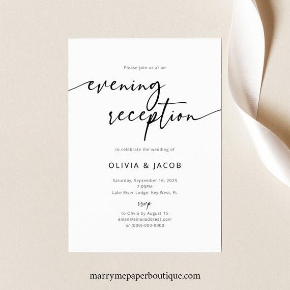Reception Invitation Template, Modern Calligraphy, Elegant Wedding Reception Invite, Printable, Editable, Templett INSTANT Download