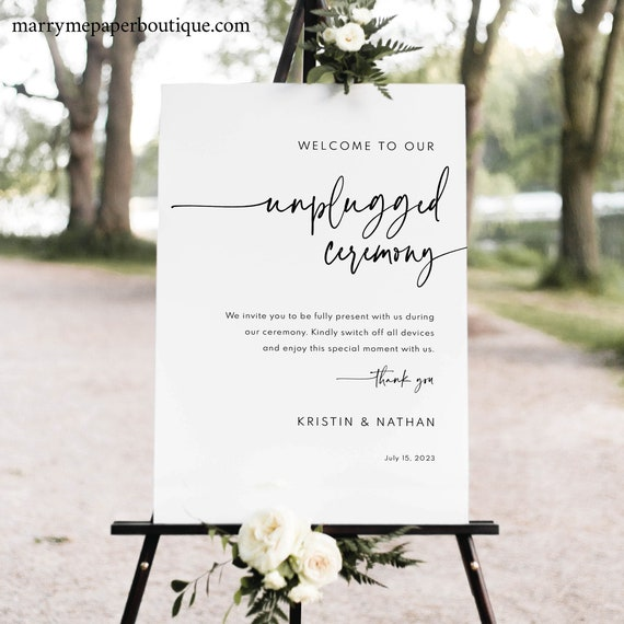 Unplugged Ceremony Sign Template, Modern Contemporary, Clean Simple Unplugged Wedding Sign, Printable, Editable, Templett INSTANT Download