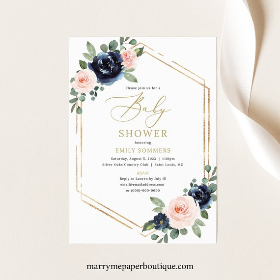 Baby Shower Invitation Template, Navy & Blush Floral, Baby Shower Invite Printable, Editable, Templett INSTANT Download