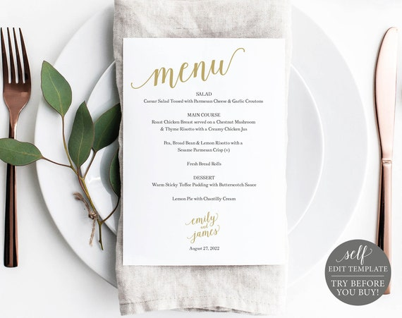 Wedding Menu Template, Gold Menu 5x7, Demo Available, Editable & Printable Instant Download, Templett