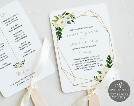 Wedding Program Fan Template, White Floral Geometric, Editable Instant Download, TRY BEFORE You BUY