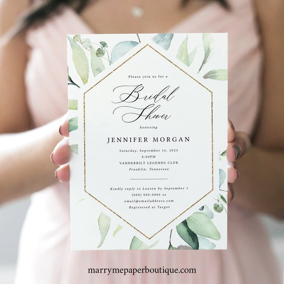 Classic Greenery Bridal Shower Invitation Template, Printable Bridal Shower Invite, Editable, Templett INSTANT Download