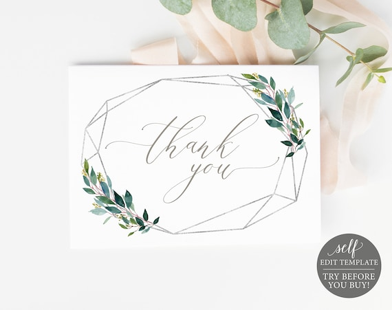 Thank You Card Template, Silver Greenery, Editable & Printable Instant Download, Templett, TRY BEFORE You Buy