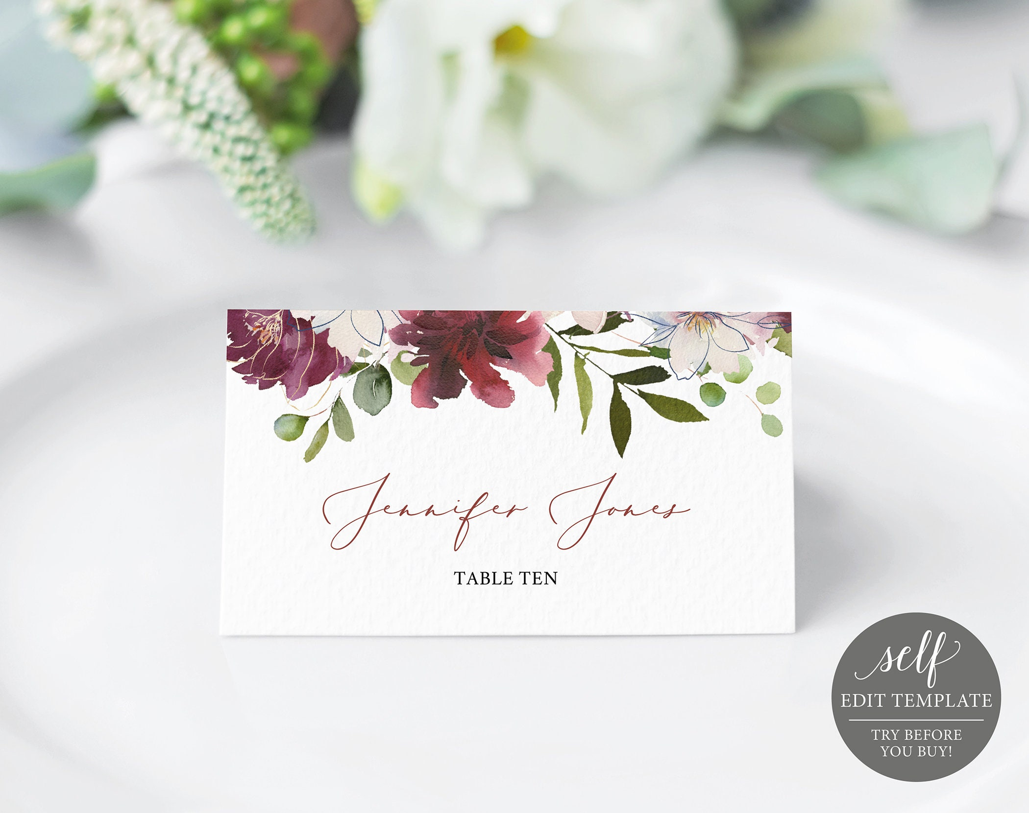 Wedding Place Card Template, 100% Editable Floral Place Cards ...