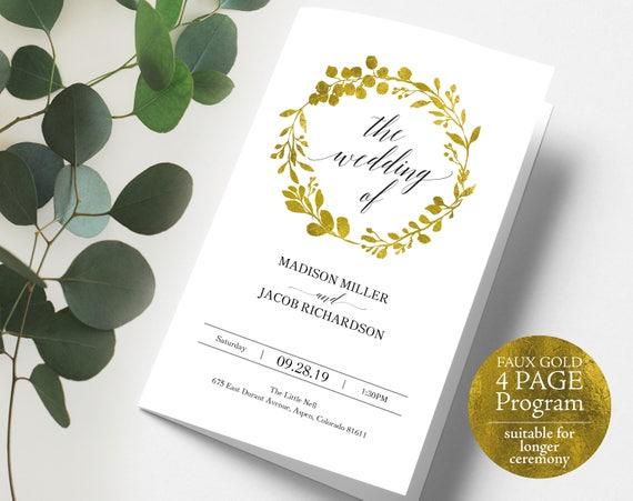 Faux Gold Wedding Program, Extended Version, Folded Wedding Program, Printable Program Template, Longer Program, Instant Download, MM07-3