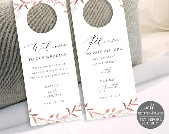 Door Hanger Template, TRY BEFORE You BUY, Fully Editable Instant Download, Rose Gold Foliage