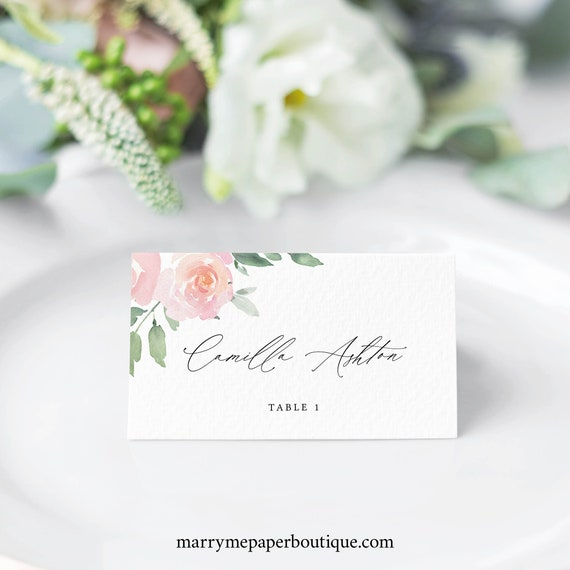 Place Card Template, Elegant Blush Floral, Templett, Editable & Printable, Instant Download, Try Before Purchase