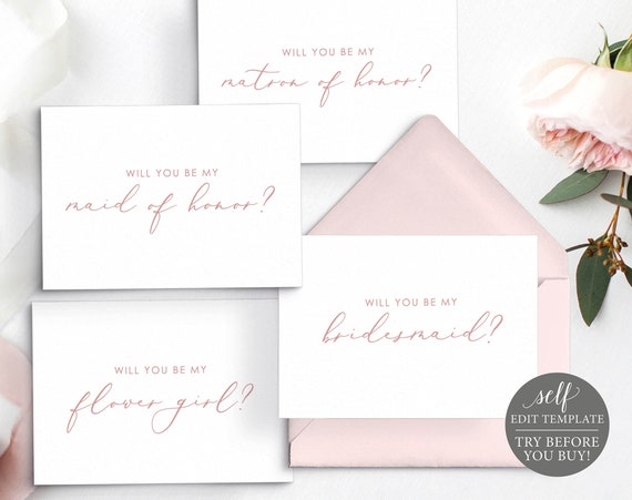 Will You Be My, TRY BEFORE You BUY, Wedding Bundle Templates, Editable Instant Download, Rose Gold