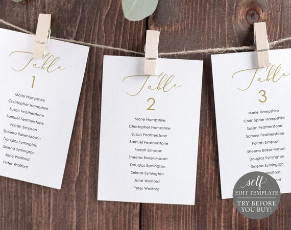Wedding Seating Cards Template, Elegant Script Gold, Editable & Printable Instant Download, Templett