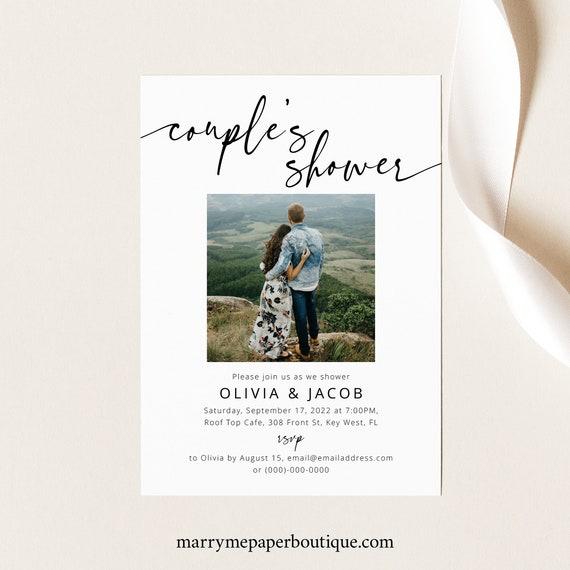 Couples Shower Invitation Template, Photo Card, Modern Calligraphy, Couples Shower Invite, Printable, Editable, Templett INSTANT Download