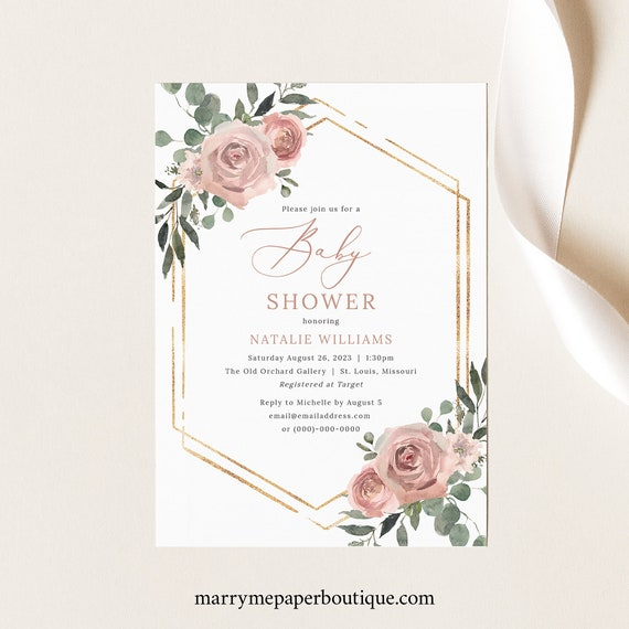 Baby Shower Invite Template, Dusky Pink Floral, Baby Shower Invitation Printable, Templett Instant Download, Try Before Purchase