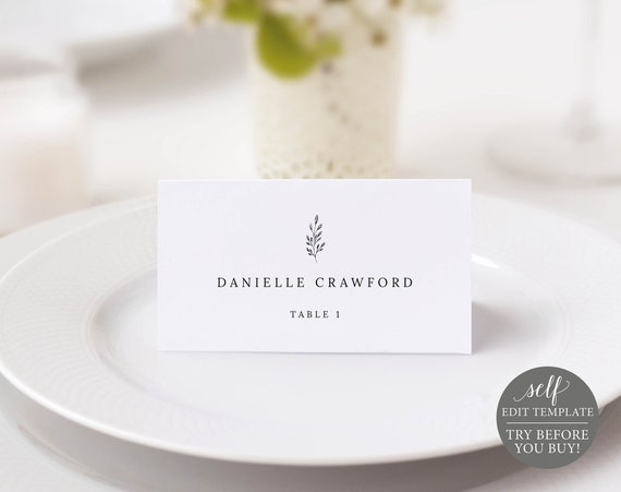 Place Card Template, Formal Botanical, Fully Editable Instant Download, TRY BEFORE You BUY