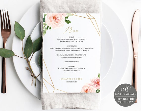 Wedding Menu Template, TRY BEFORE You BUY, Editable, Instant Download, Blush Floral, 5x7