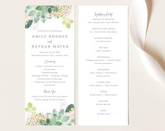 Wedding Ceremony Program Template, Succulant Floral, Printable Wedding Program, Editable, Templett INSTANT Download