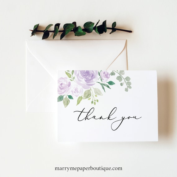 Thank You Card Template, Folded, Editable Instant Download, TRY BEFORE You BUY, Mauve & Lilac Floral