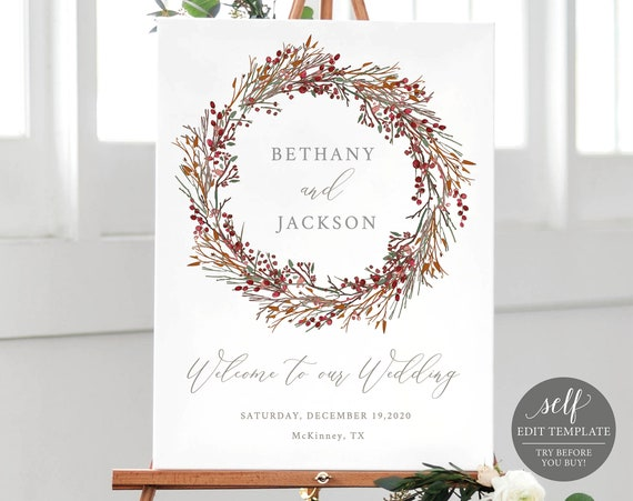 Winter Wedding Welcome Sign Template, TRY BEFORE You BUY, 100% Editable Wedding Poster Printable, Instant Download