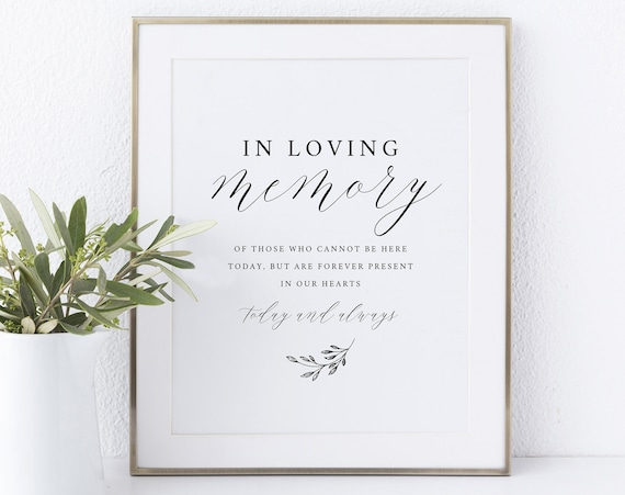 In Loving Memory Sign Template, Non-Editable Instant Download, Delicate Script