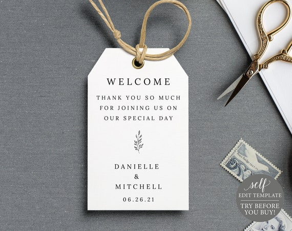 Wedding Favor Tag Template, TRY BEFORE You BUY, 100% Editable Instant Download, Formal Botanical