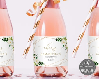 Mini Champagne Bottle Label Template Mini, White Floral, TRY BEFORE You BUY, Editable Instant Download