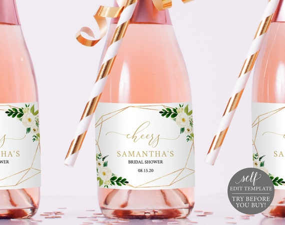 Champagne Bottle Label Template Mini, White Floral, TRY BEFORE You BUY, Editable Instant Download
