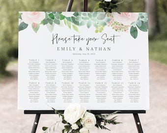 Seating Chart Template, Succulent Floral, Wedding Seating Plan Sign, Printable, Templett INSTANT Download, Editable