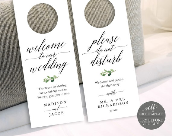 Wedding Door Hanger Template, TRY BEFORE You BUY, Fully Editable Instant Download, Greenery